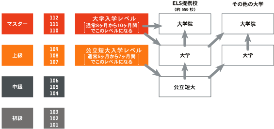 ELSインテンシブ英語プログラム(毎月入学可能)のレベルと英語力の関係